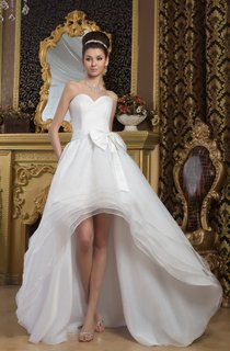 Sweetheart A-Line High-Low Bow and Gown With Tiers
