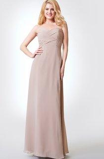 Sleeveless A-line Long Chiffon Dress With Bandage and Draping