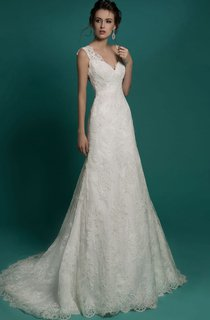Mermaid Floor-Length V-Neck Sleeveless Illusion Lace Dress
