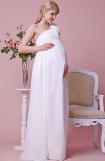Modern Maternity Wedding Gown With Empire Waist and Floral Strap
