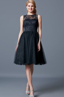 Chic Sleeveless A-line Knee-length Lace Dress With Illusion Neck