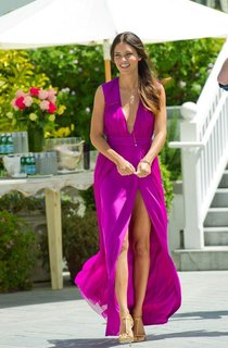 Sexy Deep V-neck Womens Prom Dresses 2016 Long Chiffon Slit Evening Party Gowns on Sale