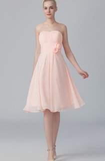 Sweetheart Short A-Line Pleated Chiffon Dress With Flowers