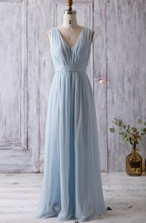 V Neck Backless Empire Waist Pleated A-line Chiffon Long Dress