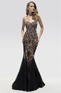 Mermaid Floor-Length Sweetheart Sleeveless Tulle Beading Flower Lace-Up Dress