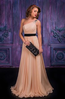 A-line Floor-length One-shoulder Sleeveless Chiffon Zipper Dress