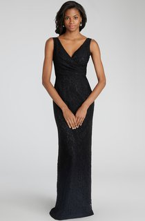 Impressive Sheath Floor-length Lace Dress with V-neck and Criss Crossed Ruching