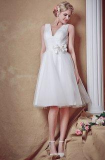 Glam Lovely Sleeveless V-neck Belted Short Wedding Dress