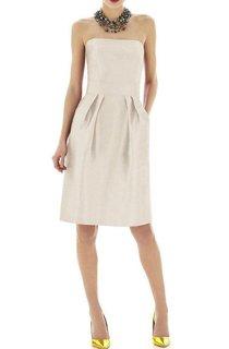 Strapless Pleated Satin Short Dress