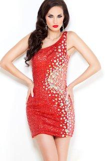 Sheath Short One-Shoulder Sleeveless Jersey Beading Beading Illusion Dress