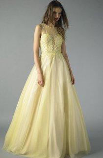 A-line Floor-length Jewel Sleeveless Tulle Zipper Dress