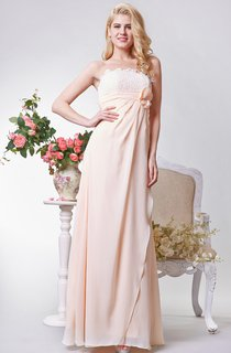 Backless A-line Long Chiffon Dress With Flower