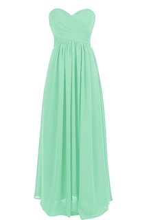 Sweetheart Ruched Chiffon A-line Gown With Zipper Back