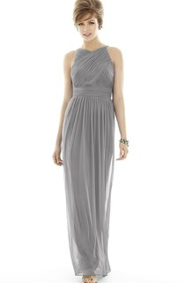Long Criss Cross Sleeveless Chiffon Dress with Belt and Ruching