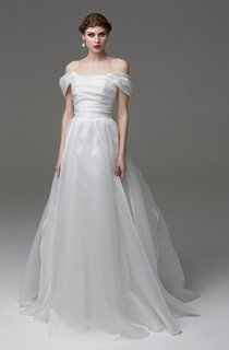 Off-The-Shoulder A-Line Organza Dress With Lace-Up Back and Ruching