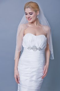 Two Tier Mid Length Veil With Beaded Trim