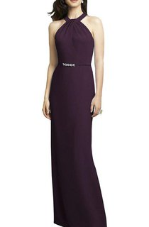 Sheath Floor-length Bridesmaid Dress with Beaded Belt