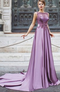 A-Line Court Train Bateau Sleeveless Satin Beading Appliques Illusion Dress