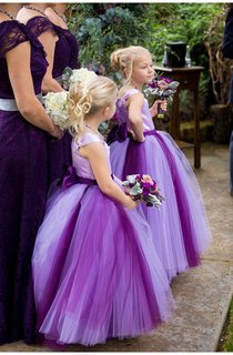 Lovely Tulle Princess Bowknot Flower Girl Dress 2016 Cap Sleeve