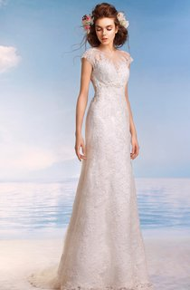 Sheath Long Scoop Cap-Sleeve Illusion Lace Dress With Appliques