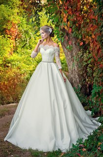 Off-the-shoulder A-line Satin Wedding Dress With Lace Bodice And Beaded Waist