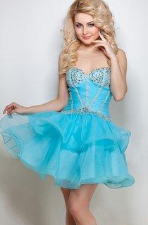 A-Line Short Sweetheart Sleeveless Tulle Beading Ruffles Low-V Back Dress