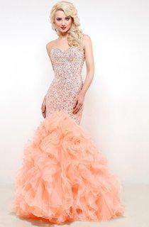 Mermaid Floor-Length Sweetheart Sleeveless Organza Ruffles Beading Lace-Up Dress