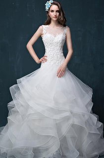 Illusion Beading Appliques Flower Ruffles Illusion Flower Illusion Lace-Up Back Keyhole Tulle Lace Organza Satin Dress