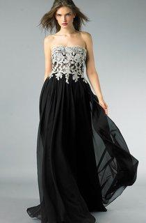 A-line Floor-length Strapless Sleeveless Chiffon Backless Dress