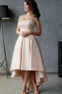 A-Line High-Low Strapless Sleeveless Satin Pleats Ruffles Zipper Dress