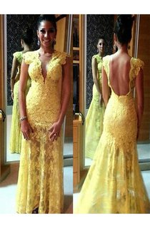Sheath Short Sleeves V-neck Lace Floor-Length Dresses