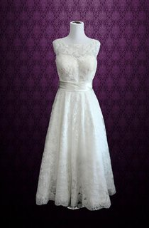 Sleeveless A-Line Bateau Neck Lace Gown With Satin Belt