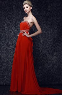 Strapless Ruched Chiffon Maxi Dress With Beaded Waist