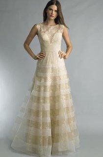 A-line Floor-length Jewel Short Sleeve Lace Low-V Back Dress