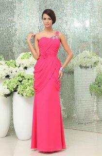Graceful One-Shoulder Sheath Gown Floral Waist