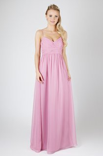 Spaghetti A-Line Straps Gown With Waist Gathered Bandage