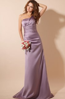 One-Shoulder Satin Floor-Length Dress With Brush Train