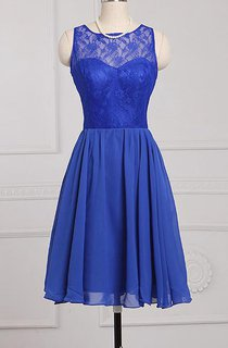 A-line Knee-length Scoop Sleeveless Zipper Chiffon Lace Dress