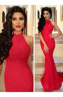 Lace Sexy Mermaid Prom Dress 2016 Red High-neck Sleeveless Evening Gowns