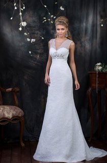 V-neck Sheath Lace Wedding Dress With Beading And Sash