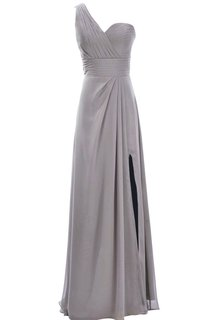 One-shoulder Sweetheart Long Empire Dress With Side Slit