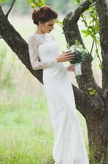 Long Lace Sleeve High Neck Sheath Wedding Gown