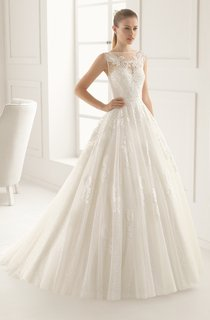 Illusion Back Bateau-Neck Dress With Lace Appliques