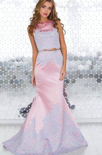 Mermaid Sweep Bateau Short Sleeve Satin Beading Lace Illusion Dress