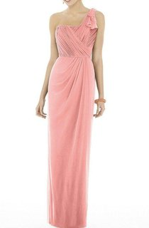 One Shoulder Ruched Chiffon Long Bridesmaid Dress with Drapping