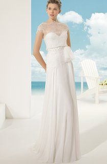 Style Vintage Dress With Illusion Back And Neck