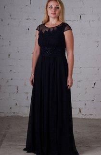 Empire Bateau Short Sleeve Empire Chiffon Beading Dress