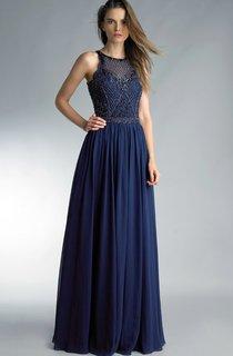 A-line Floor-length Jewel Sleeveless Chiffon Illusion Dress