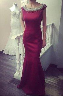 Newest Beadings Ruffles 2016 Prom Dress Bodycon Jewel Cap Sleeve