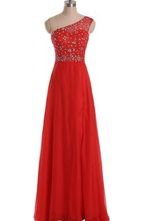 One-shoulder Long A-line Gown With Rhinestone Bodice